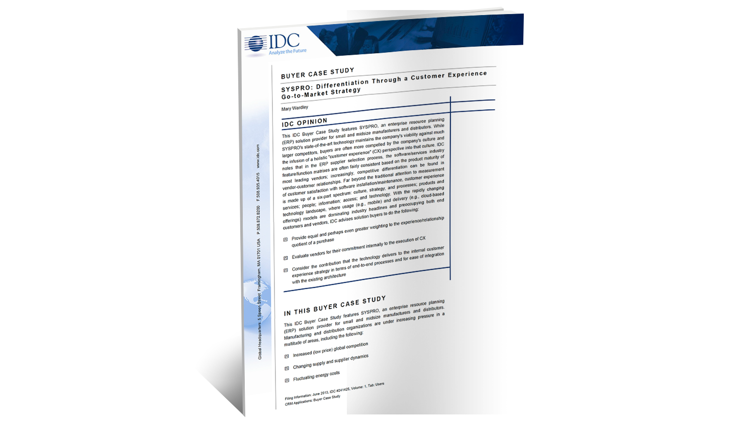 SYSPRO Case Study Customer Experience Analyst Report